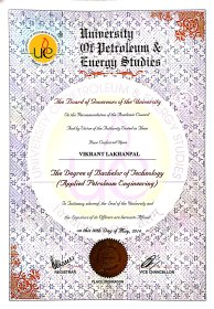 Graduated from University of Petroleum and Energy Studies with a Bachelor's in Petroleum Engineering in May 2014.
